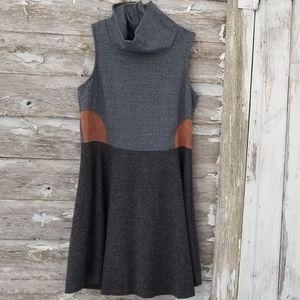 THML Cowl sleeveless Chevron Gray Dress